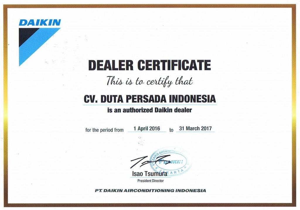 Certificate Dealer DAIKIN 2016